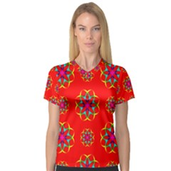 Rainbow Colors Geometric Circles Seamless Pattern On Red Background Women s V-Neck Sport Mesh Tee