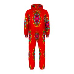 Rainbow Colors Geometric Circles Seamless Pattern On Red Background Hooded Jumpsuit (Kids)