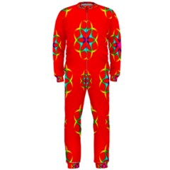 Rainbow Colors Geometric Circles Seamless Pattern On Red Background OnePiece Jumpsuit (Men)