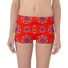 Rainbow Colors Geometric Circles Seamless Pattern On Red Background Boyleg Bikini Bottoms