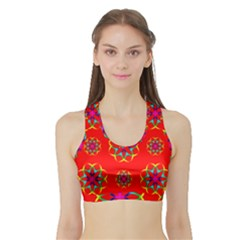 Rainbow Colors Geometric Circles Seamless Pattern On Red Background Sports Bra With Border