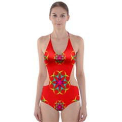Rainbow Colors Geometric Circles Seamless Pattern On Red Background Cut Out One Piece Swimsuit