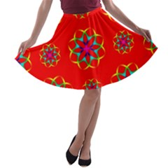 Rainbow Colors Geometric Circles Seamless Pattern On Red Background A-line Skater Skirt