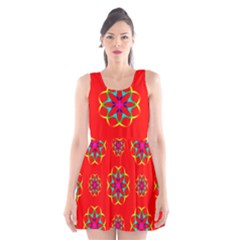Rainbow Colors Geometric Circles Seamless Pattern On Red Background Scoop Neck Skater Dress