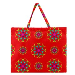 Rainbow Colors Geometric Circles Seamless Pattern On Red Background Zipper Large Tote Bag