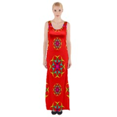 Rainbow Colors Geometric Circles Seamless Pattern On Red Background Maxi Thigh Split Dress