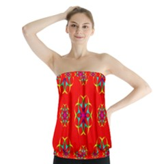Rainbow Colors Geometric Circles Seamless Pattern On Red Background Strapless Top