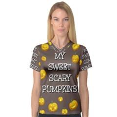 Hallowen My Sweet Scary Pumkins Women s V Neck Sport Mesh Tee