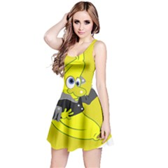Funny Cartoon Punk Banana Illustration Reversible Sleeveless Dress