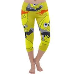 Funny Cartoon Punk Banana Illustration Capri Yoga Leggings