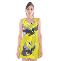 Funny Cartoon Punk Banana Illustration Scoop Neck Skater Dress