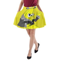 Funny Cartoon Punk Banana Illustration A-Line Pocket Skirt