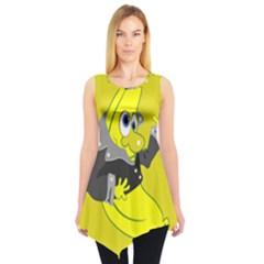 Funny Cartoon Punk Banana Illustration Sleeveless Tunic