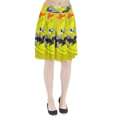 Funny Cartoon Punk Banana Illustration Pleated Skirt