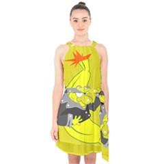 Funny Cartoon Punk Banana Illustration Halter Collar Waist Tie Chiffon Dress