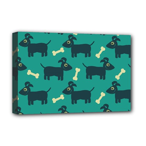 Happy Dogs Animals Pattern Deluxe Canvas 18  x 12