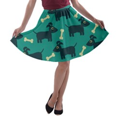 Happy Dogs Animals Pattern A Line Skater Skirt