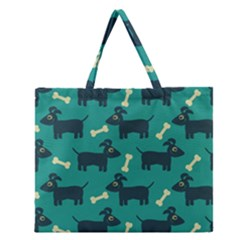 Happy Dogs Animals Pattern Zipper Large Tote Bag
