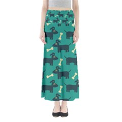 Happy Dogs Animals Pattern Full Length Maxi Skirt