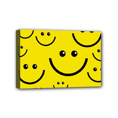 Digitally Created Yellow Happy Smile  Face Wallpaper Mini Canvas 6  X 4
