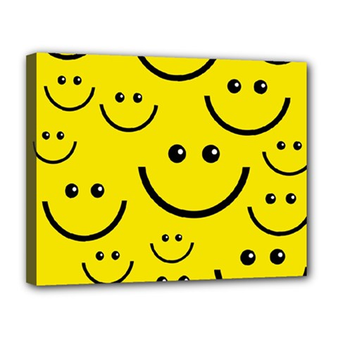 Digitally Created Yellow Happy Smile  Face Wallpaper Canvas 14  x 11