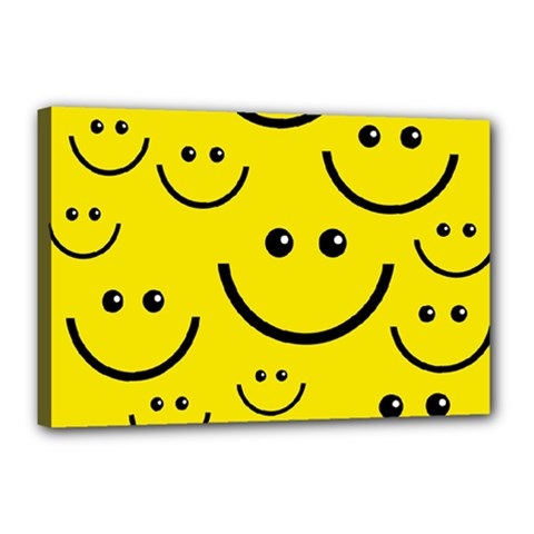 Digitally Created Yellow Happy Smile  Face Wallpaper Canvas 18  x 12