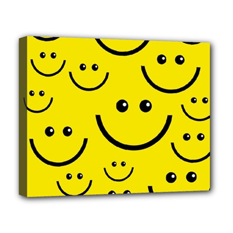 Digitally Created Yellow Happy Smile  Face Wallpaper Deluxe Canvas 20  x 16
