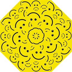 Digitally Created Yellow Happy Smile  Face Wallpaper Hook Handle Umbrellas (Large)
