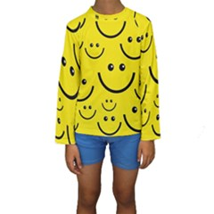 Digitally Created Yellow Happy Smile  Face Wallpaper Kids  Long Sleeve Swimwear