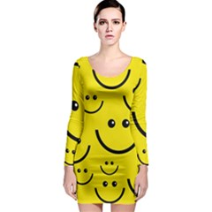 Digitally Created Yellow Happy Smile  Face Wallpaper Long Sleeve Bodycon Dress