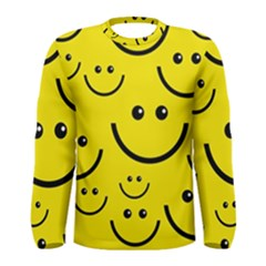 Digitally Created Yellow Happy Smile  Face Wallpaper Men s Long Sleeve Tee