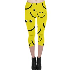 Digitally Created Yellow Happy Smile  Face Wallpaper Capri Leggings