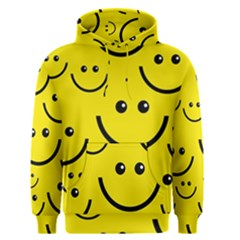 Digitally Created Yellow Happy Smile  Face Wallpaper Men s Pullover Hoodie