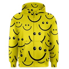 Digitally Created Yellow Happy Smile  Face Wallpaper Men s Zipper Hoodie