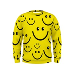 Digitally Created Yellow Happy Smile  Face Wallpaper Kids  Sweatshirt