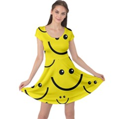 Digitally Created Yellow Happy Smile  Face Wallpaper Cap Sleeve Dresses