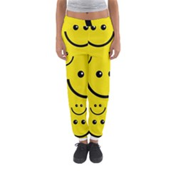 Digitally Created Yellow Happy Smile  Face Wallpaper Women s Jogger Sweatpants