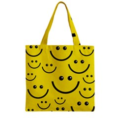 Digitally Created Yellow Happy Smile  Face Wallpaper Zipper Grocery Tote Bag