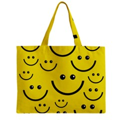 Digitally Created Yellow Happy Smile  Face Wallpaper Zipper Mini Tote Bag