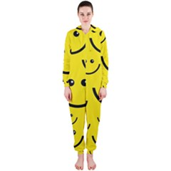 Digitally Created Yellow Happy Smile  Face Wallpaper Hooded Jumpsuit (ladies)