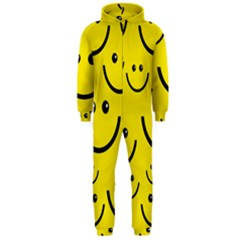 Digitally Created Yellow Happy Smile  Face Wallpaper Hooded Jumpsuit (Men)