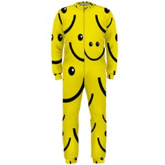 Digitally Created Yellow Happy Smile  Face Wallpaper Onepiece Jumpsuit (men)
