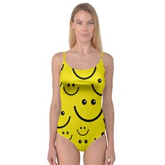Digitally Created Yellow Happy Smile  Face Wallpaper Camisole Leotard
