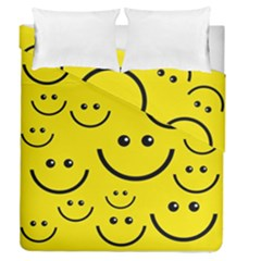 Digitally Created Yellow Happy Smile  Face Wallpaper Duvet Cover Double Side (queen Size)