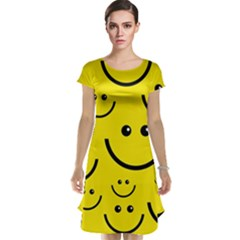 Digitally Created Yellow Happy Smile  Face Wallpaper Cap Sleeve Nightdress