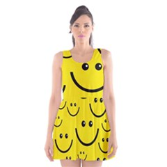 Digitally Created Yellow Happy Smile  Face Wallpaper Scoop Neck Skater Dress