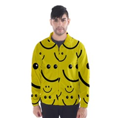 Digitally Created Yellow Happy Smile  Face Wallpaper Wind Breaker (men)