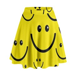 Digitally Created Yellow Happy Smile  Face Wallpaper High Waist Skirt