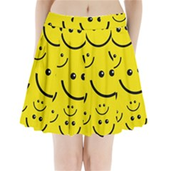 Digitally Created Yellow Happy Smile  Face Wallpaper Pleated Mini Skirt