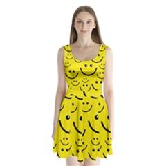 Digitally Created Yellow Happy Smile  Face Wallpaper Split Back Mini Dress